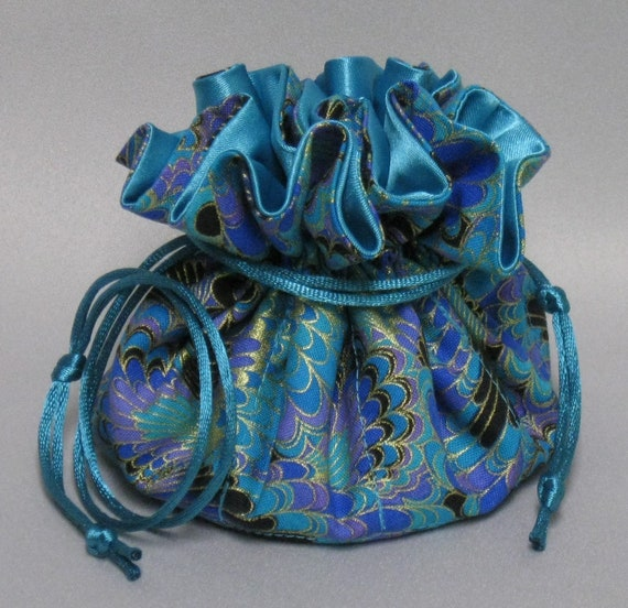 Jewelry Travel Tote---Drawstring Organizer Pouch---Beautiful Abstract Design---Eight Pockets--Regular Size