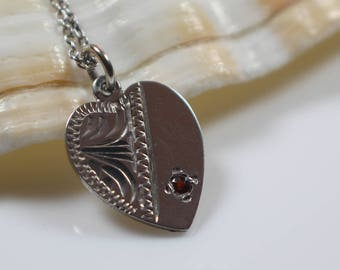 Etched Heart Silver Pendant with Glass Red Stone on 925 Silver Chain Necklace