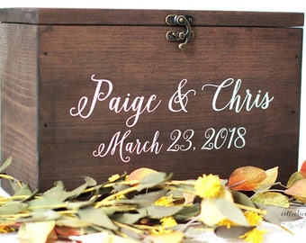 Wood Wedding Card Box with Lid | Wedding Money Box | Wedding Card Box | Wedding Card Holder | Rustic Cards Box with Lid - WS-230