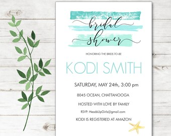 Personalized Bridal Wedding Shower Invitations and Envelopes with Watercolor Aqua Paint Strokes Beach Starfish Ocean Nautical NVB8045