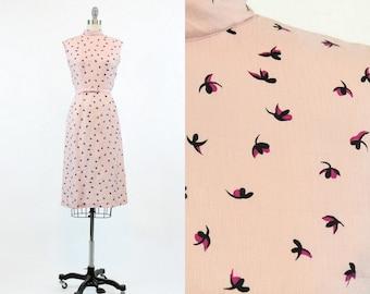 40s Dress Wiggle XS / 1940s Vintage Pink Novelty Dress / The Bette Dress