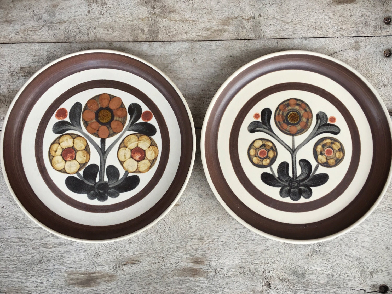 Two vintage 10\  dinner plates Denby Langley Mayflower pattern Midcentury modern dinnerware English pottery 1960s stoneware Gill Pemberton & Two vintage 10 dinner plates Denby Langley Mayflower pattern ...