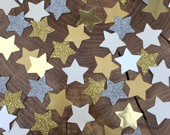150 twinkle Star Confetti pieces. Gold glitter, silver glitter, shiny gold stars, ivory stars, Table decoration