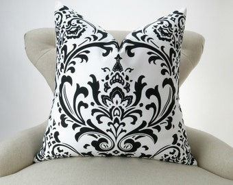 Black Damask Pillow Cover -MANY SIZES- black & white cushion, damask euro sham, throw pillow, toss sofa, Traditions Premier Prints, FREESHIP