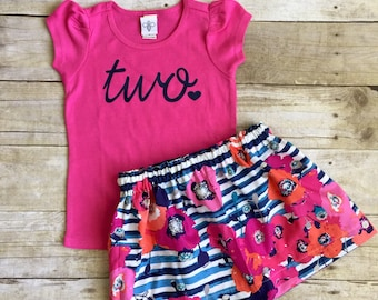 Girls Birthday outfit, 2nd birthday shirt,ANY AGE, girls Birthday shirt and skirt