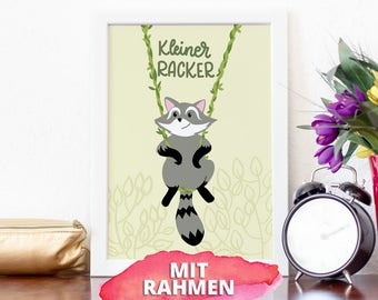 Poster with frame A4, small racker, children's room illustration, raccoon with hand pallet ring, cute, naughty raccoon on swing