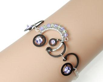 Steampunk Bracelet, Swarovski Crystal Bracelet, Purple Crystal, Green Crystal, Bridal Jewelry, Wire Wrapped Bracelet, Aglaea IV v7