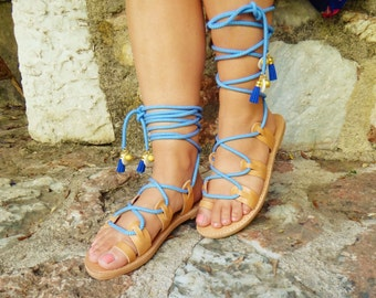 Ariadne Lace Tie up Stripes Charms Sandals / Navy Blue Striped Cord / Genuine Greek High Quality Leather / Gladiator Strap Sandals