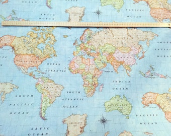 Map fabric world map fabric fabric map of the world world fabric world map sky blue 3 designer curtain upholstery cotton fabric material world map print canvas 55140cm wide world map sky blue 3 gumiabroncs Images