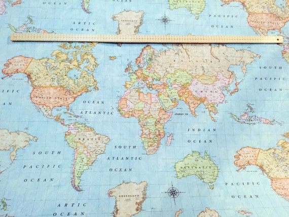 World map sky blue 3 designer curtain upholstery cotton fabric world map sky blue 3 designer curtain upholstery cotton fabric material world map print canvas 55140cm wide world map sky blue 3 from shop4cotton on gumiabroncs Images