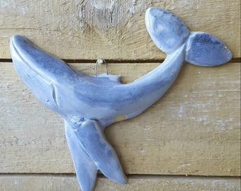 Blue humpback whale ceramic wallpiece, decoration