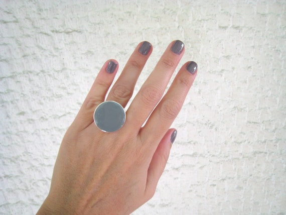 Grey ring, grey resin ring, round ring, ash granite grey solitaire ring, big chunky ring, contemporary modern minimalist grey glass ring