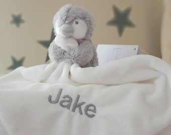Personalised Snowy Penguin Comforter Grey / Baby blankets / Baby shower gift / First Baby toys / Personalised Blanket