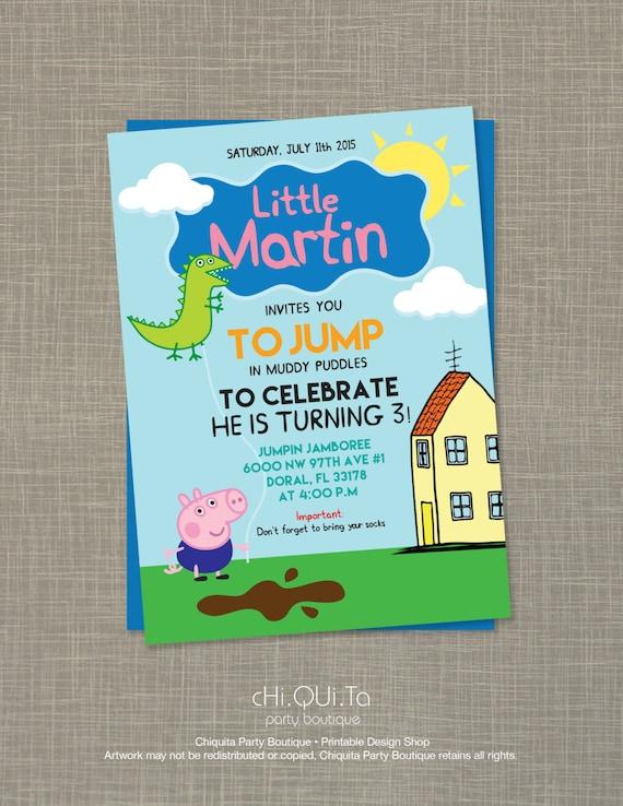 Printable Little George Pig Birthday Party Invitation PDF