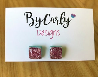 Polymer clay & resin extra small  square stud earrings