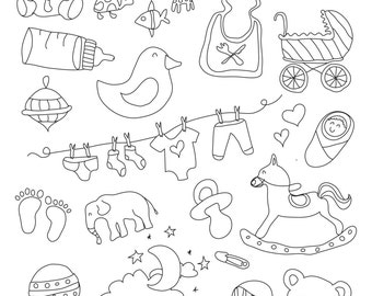 Set of Baby Illustrations - Art Outlines Full Page 32 Original Hand Drawn Outline Illustrations