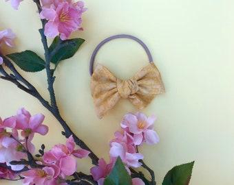 Yellow Damask Pinwheel Bow