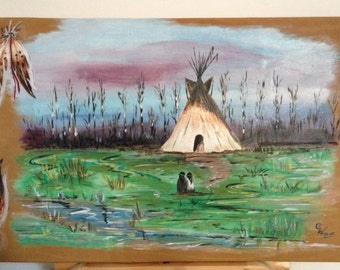 "painting on leather - original - ""In Grassland"""