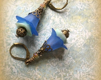 Blue Lucite and Glass Calla Lily Earrings