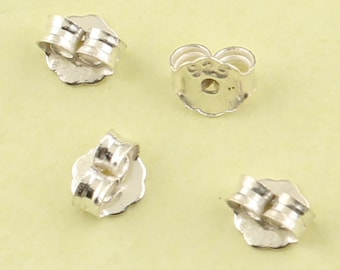 20pcs of 925 Sterling Silver Earring Backs, Butterfly Earnuts, 0.9mm hole Ear nut
