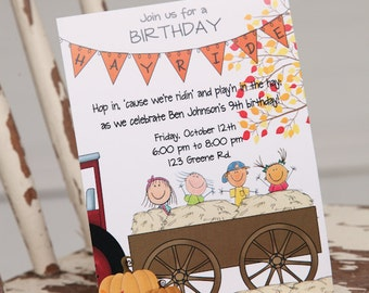 Printable Hayride Birthday Invitation, Hayride Birthday, Digital Birthday Invitation, Personalized Birthday Invitation