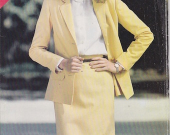 Straight Skirt Pattern Side Slits Unlined Jacket Uncut Size 12, 14, 16  See & Sew 3020
