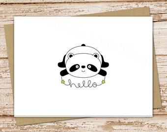 note card set.  panda bear hello cards . greeting cards . note cards, notecards . folded stationery, stationary . blank cards . set of 6