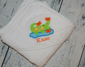 Personalized Alligator and Crab Infant Hooded Towel Monogrammed Baby Shower Gift