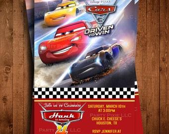 DISNEY CARS 3 MOVIE Digital Lightning McQueen Birthday Party Invitations Lightning Mc Queen Invites Jackson Storm Cruze Ramirez Invitations