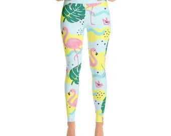 Flamingo Ladies Yoga Leggings -  Women's Workout Pants - Gym Legging - Yoga Pant - Tight Pants - Womens Apparel