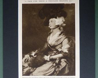 1930s Vintage Sepia Print of Mrs Sarah Siddons by Thomas Gainsborough Vintage theatre actress portrait art, Antique 18th century sepia decor