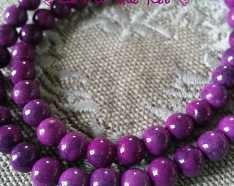 Natural Jade dyed purple 6 mm beads