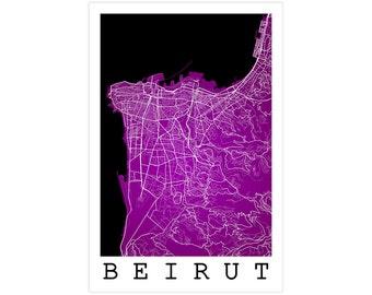 Beirut Street Map, Beirut Lebanon, Modern Art Print, Beirut Map, Beirut Art, Beirut Poster, Beirut Decor, Beirut Gift Idea, Office Decor