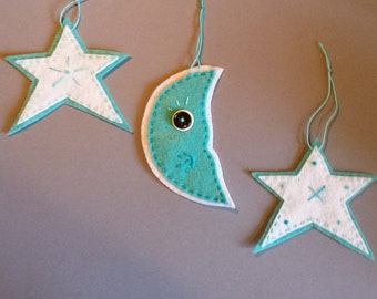 Blue Moon and Stars - ornaments, handmade