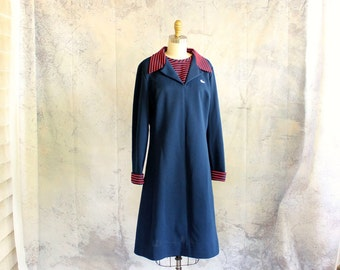 vintage Chemise Lacoste dress . navy blue nautical mod dress . 1960s 70s dress, womens large xl volup