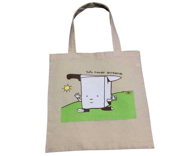 TOTE BAG Tofu Never Screams Cotton Tote Bag