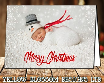 Classic Modern 10 Pack Od Photo Personalised Christmas Greeting Cards Boy Girl Twin Family Thank You Note Folded Printed Children Bespoke