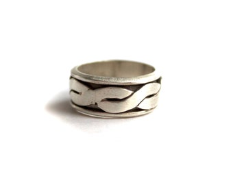 Sterling Silver Celtic Knot Rope Spinner Ring - size 10 - Mens, Womens, Unisex