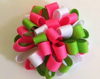 Green, Pink, White, Spring Easter Loopy Puff Bow