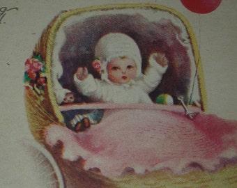 A/S Ellen Clapsaddle RARE First Birthday Greeting Vintage Postcard