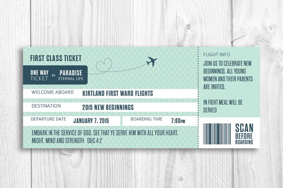 LDS boarding pass invitation New Beginnings Evening of