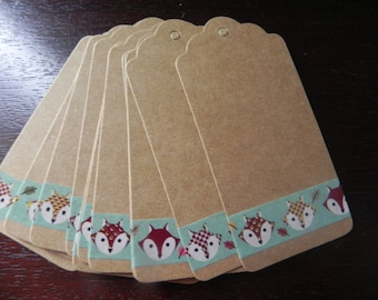 "Once upon a time... 15 gift tags ""Fox card stock measuring 9 x 4 cm"""
