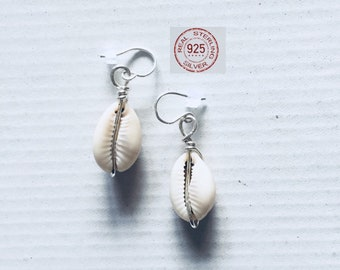Silver Cowrie Shell earrings made with 925 sterling silver wire and real shells