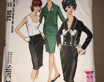 60s Vintage McCall's 7515 Printed Sewing Pattern - Misses' and Junior Skirt Suit and Top; Size 16, Bust 36""