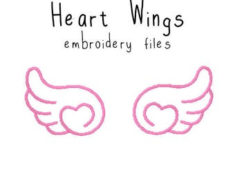 Heart Wings EMBROIDERY MACHINE FILES pattern design hus jef pes dst all formats angel wings kawaii Instant Download digital applique cute