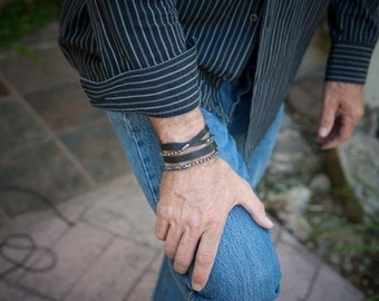 Mens Leather Bracelet | The Patron | Sterling Silver Chain, Turquoise, Mens custom bracelet, Leather Bracelet