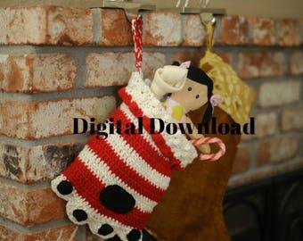 Dog Paw Christmas Stocking Crochet Pattern, Paw Print Sock, Crochet Pet or Cat PDF Pattern, Holiday, Photo Prop, Digital Download,