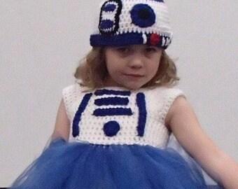 Crochet R2D2 Inspired Tutu Dress Costume
