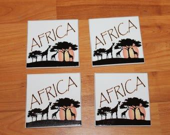 Africa ceramic tile drink coasters;Black art ceramic tile coaster set;African American;Drink coaster set;Home decor;Bar decor;Gift under 20