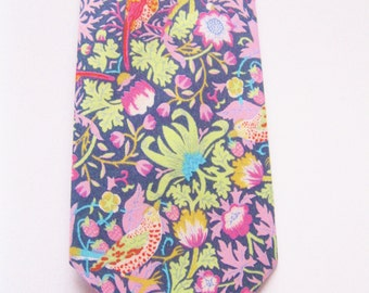 Pink wedding tie, Liberty of London Print Necktie, custom pink tie, YOU CHOOSE COLOR, pink groomsmen tie